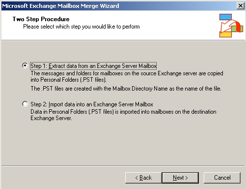 Export mailboxes using Exmerge and Exchange 2003 (2/6)