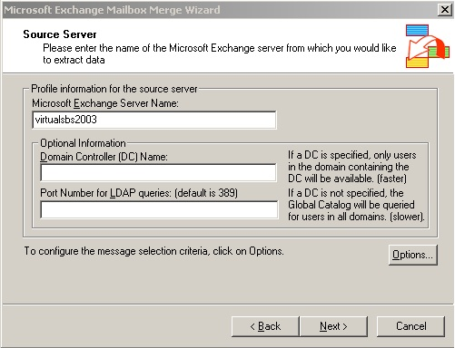 Export mailboxes using Exmerge and Exchange 2003 (3/6)