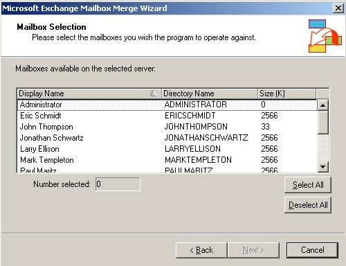 Export mailboxes using Exmerge and Exchange 2003 (5/6)