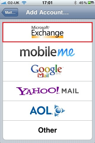 Configure iPhone for use with Exchange Server (3/6)