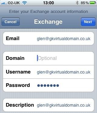 Configure iPhone for use with Exchange Server (4/6)