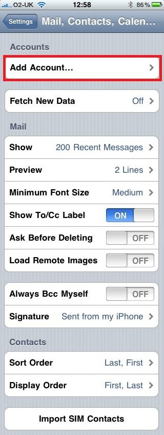 Configure iPhone for use with Exchange Server (2/6)